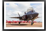 F-35 Lightning II in front of the Red Arrows, Framed Mounted Print