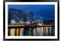 Red Boat Bar moored in front of One Park West, Framed Mounted Print