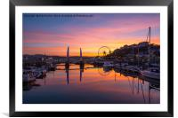 Torquay Harbour Sunset, Framed Mounted Print