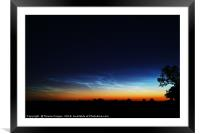 Noctilucent clouds glow in the distance , Framed Mounted Print