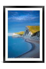 White cliffs along Jurassic Coast, Framed Mounted Print