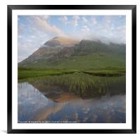 Buachaille Etive Mor reflected in Lochan na Fola, Framed Mounted Print