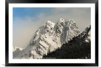 Snow on the mountain peaks, Framed Mounted Print