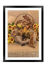 Autumn in a Basket, Framed Mounted Print