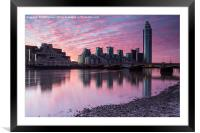 across the water towards  st George wharf, Framed Mounted Print