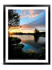 """""""Blue skies give way to the setting sun"""", Framed Mounted Print"""