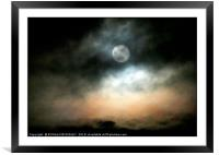 """Spooky big Moon"", Framed Mounted Print"