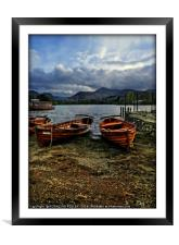 """Evening light on the boats at Derwentwater"", Framed Mounted Print"