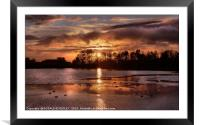 """""""Autumn sunset at the lake"""", Framed Mounted Print"""