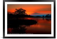 """""""Fiery sunset at the lake"""", Framed Mounted Print"""