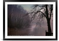 """a chink of Light by a misty lake"", Framed Mounted Print"