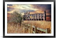 """breezy sunset at Whitby Abbey"", Framed Mounted Print"