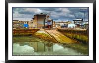 """Stormy skies at the boat yard"", Framed Mounted Print"