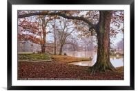 """Misty day by an Autumn lake "", Framed Mounted Print"