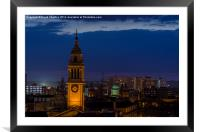 rooftop timepiece, Framed Mounted Print