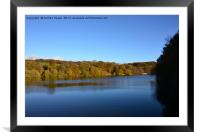 Autumn view of reservoir  lake in Staffordshire , Framed Mounted Print