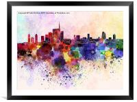 Milan skyline in watercolor background, Framed Mounted Print