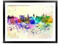 Valletta skyline in watercolor background, Framed Mounted Print