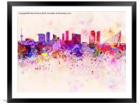 Rotterdam skyline in watercolor background, Framed Mounted Print