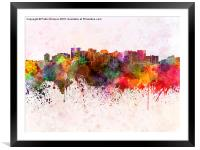 Oakland skyline in watercolor background, Framed Mounted Print