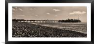 Brighton Pier & Beach - sepia, Framed Mounted Print