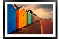 Bournemouth Beach Huts , Framed Mounted Print