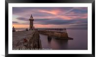 Whitby Harbour at dusk, Framed Mounted Print
