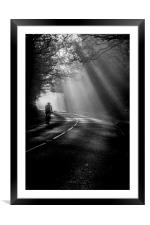 Cycling through the mist, Framed Mounted Print