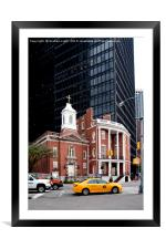 Old verses new in Manhattan, New York City, Framed Mounted Print