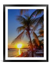 Sunset at the beach    Caribbean Views , Framed Mounted Print