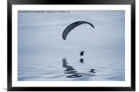 Powered paraglider cyanotype, Framed Mounted Print