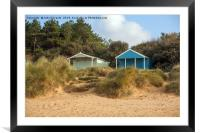Two beach huts at Old Hunstanton, Framed Mounted Print