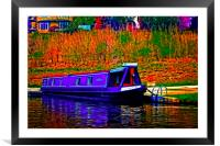 A digitally converted painting of a canal barge in, Framed Mounted Print