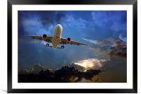 Passenger plane on final approach, against a storm, Framed Mounted Print