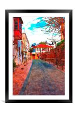 cobbled back streets of Kaleici in Antalya Turkey, Framed Mounted Print