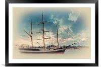 A tall ship on the river mersey, Framed Mounted Print
