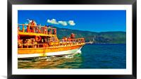 A daily cruise boat in Turkey , Framed Mounted Print
