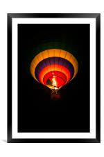 Night hot air balloon adventure, Framed Mounted Print