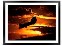chinook at sunset, Framed Mounted Print
