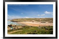 Perranporth Beach with Sundial, Cornwall, Framed Mounted Print