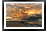 Lancing Beach with dramatic clouds, Framed Mounted Print