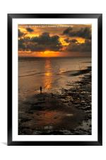 Watching the Sunset, Worthing Beach, Framed Mounted Print
