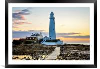 St. Mary's Lighthouse Standing Proudly, Framed Mounted Print