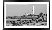 The Lighthouse in mono..............., Framed Mounted Print