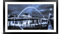 The Millennium Bridge all in Blue, Framed Mounted Print