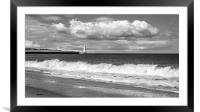 Beach view of St. Marys Lighthouse , Framed Mounted Print