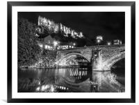 Durham Castle by Night Lights in Black and White, Framed Mounted Print