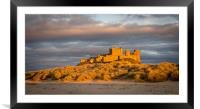 Bamburgh Castle from the beach at Easter, Framed Mounted Print