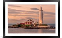 Twilight at St Mary's Lighthouse, Framed Mounted Print