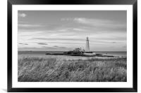 Twilight at St Mary's Lighthouse Mono, Framed Mounted Print
